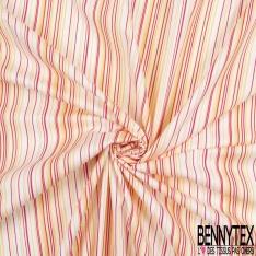 Coton Elasthanne imprimé Motif Rayure Verticale Jaune Or Rouge Blanc