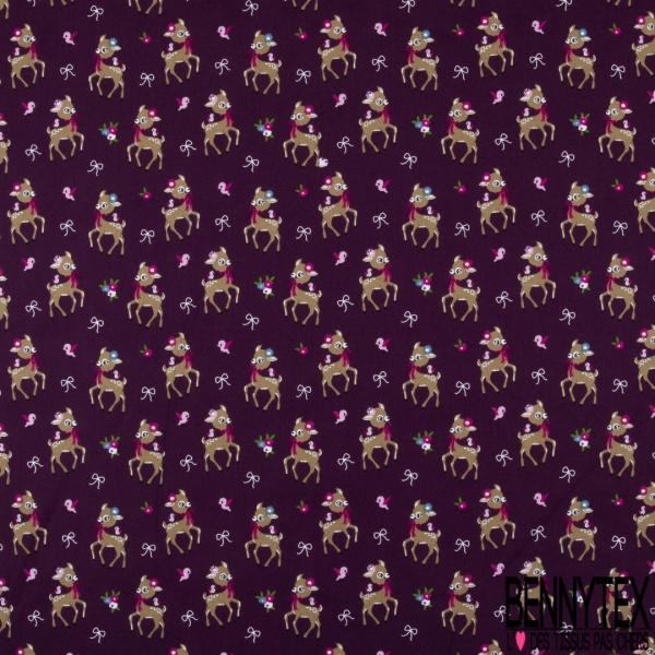Coton effet Satiné Soyeux imprimé Biche Fantaisie fond Violet