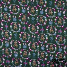 Coton effet Satiné Soyeux imprimé Biche Fantaisie dans Couronne Fleurie fond Vert Sapin
