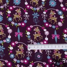 Coton effet Satiné Soyeux imprimé Biche Fantaisie dans Couronne Fleurie fond Violet