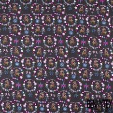 Coton effet Satiné Soyeux imprimé Biche Fantaisie dans Couronne Fleurie fond Anthracite