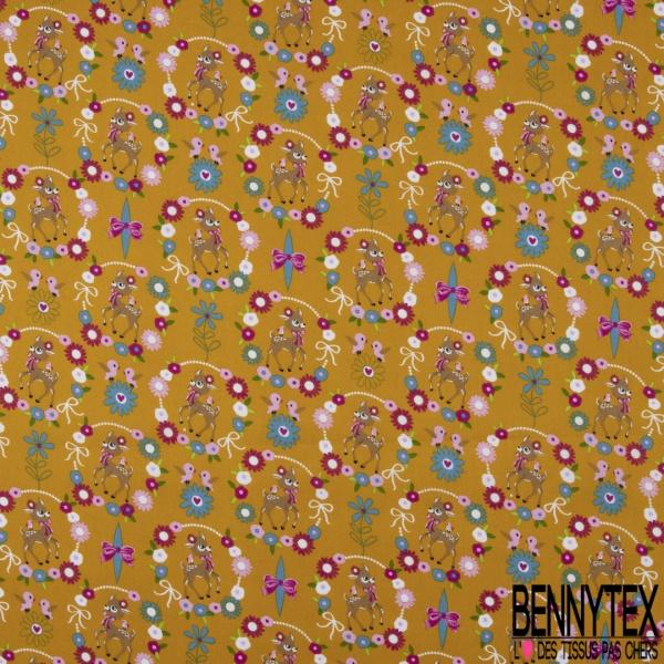 Coton effet Satiné Soyeux imprimé Biche Fantaisie dans Couronne Fleurie fond Moutarde