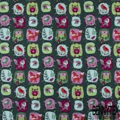Coton effet Satiné Soyeux imprimé Patch avec Animaux de la Forêt fond Vert Epinard