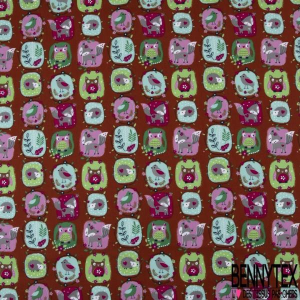 Coton effet Satiné Soyeux imprimé Patch avec Animaux de la Forêt fond Moutarde