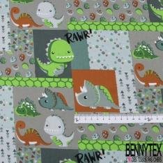 Coton effet Satiné Soyeux imprimé Patch avec Animaux de la Forêt fond Perle