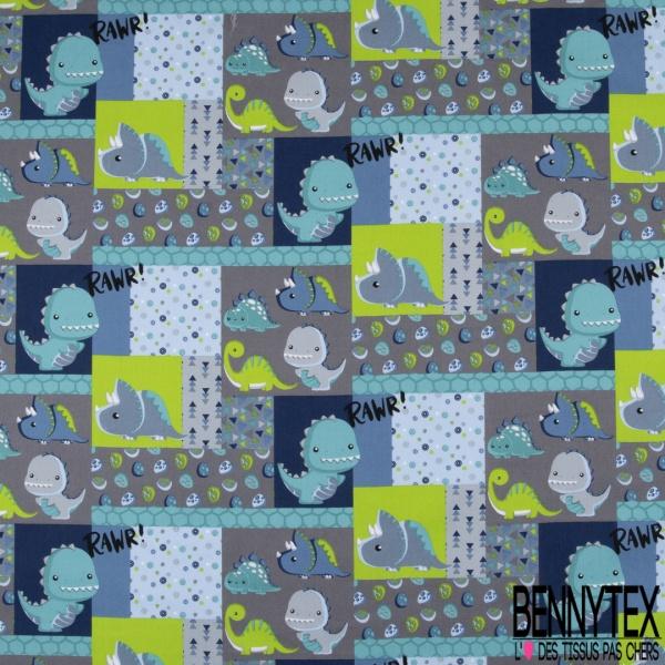 Coton effet Satiné Soyeux imprimé Dino Rigolo Vert Bleu fond Gris