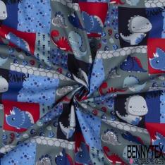 Coton effet Satiné Soyeux imprimé Dino Rigolo Rouge Bleu fond Gris