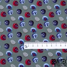 Coton effet Satiné Soyeux imprimé Forme Galet 3D Bleu Rouge Gris fond Gris