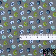 Coton effet Satiné Soyeux imprimé Forme Galet 3D Bleu Anis Gris fond Gris
