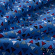 Coton effet Satiné Soyeux imprimé Petit Triangle Rouge Bleu Gris Noir fond Bleu