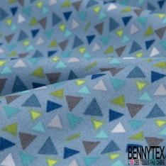 Coton effet Satiné Soyeux imprimé Petit Triangle Vert Bleu Gris fond Bleu Glacier