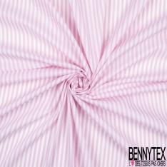 Coton Polyamide Imprimé Rayures Verticale Rose Blanche