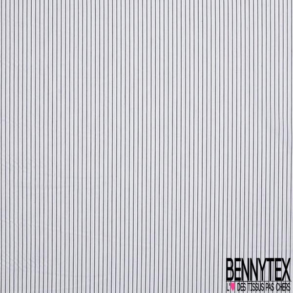 Coton Polyamide Imprimé Fine Rayures Verticale Noir Blanche