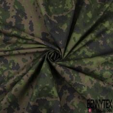 Toile Imprimé Camouflage Militaire fond Quadrillage ton Kaki