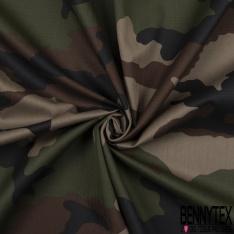 Toile Imprimé Camouflage Militaire Sergé ton Taupe