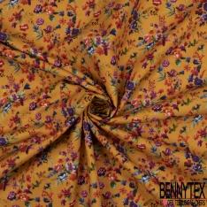 Coton imprimé Digital Motif Floral Sauvage Champêtre fond Ocre Jaune