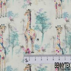 Coton imprimé Digital Thème Girafe dans la Savane fond Blanc