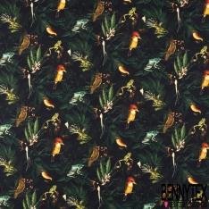 Coton imprimé Digital Thème Forêt Tropicale et Grenouille Oiseaux fond Noir