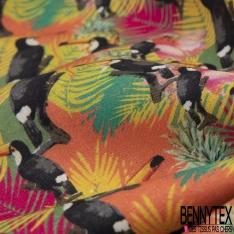 Coton imprimé Digital Thème Forêt Tropicale Multicolore Toucan