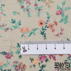Coton imprimé Digital Thème petite Fleur Champêtre fond Sable