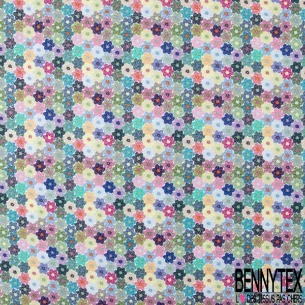 Coton imprimé Digital Thème petite Fleur Vintage en Chainette Multicolore fond Blanc