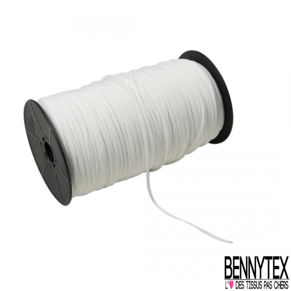 Bobine 200m élastique Queue de Rat 2mm Blanc Souple Made in France