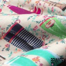 Coton imprimé Digital Thème Botte de Pluie Fantaisie fond Floral Sable