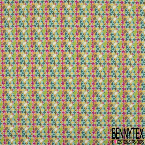 Coton imprimé Digital Thème Parasol Estival Multicolore fond Coquille