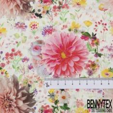 Coton imprimé Digital Thème Famille de Cygne dans Champs Fleuri ton Rose