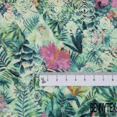 Coton imprimé Digital Thème Losange Fantaisie Fleur de Tiaré ton vert