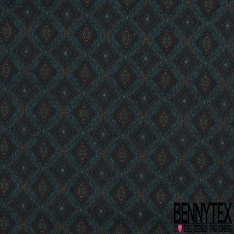 Coton imprimé Digital Thème Losange Tribal Anis fond Turquoise