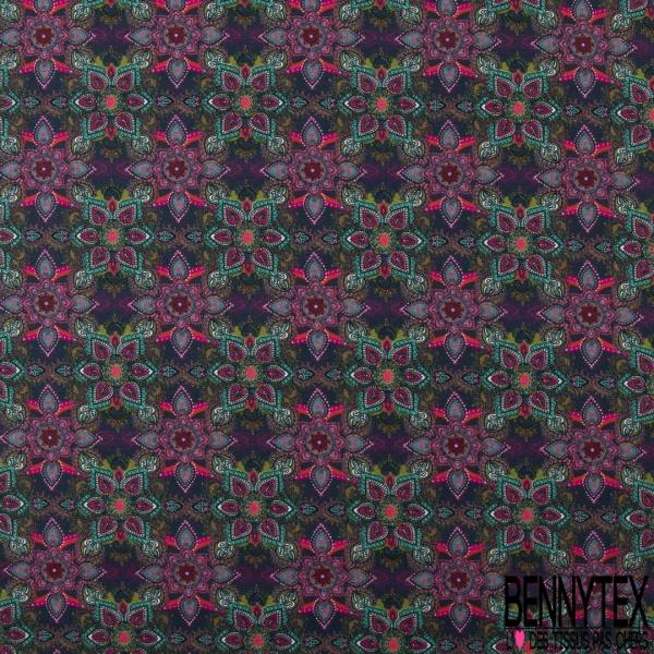 Coton imprimé Digital Thème Losange Tribal ton Pétrole Beige Noir