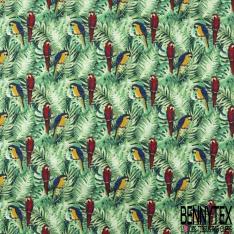 Coton imprimé Digital Thème Nature et Animaux fond Tropical Blanc