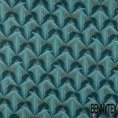 Coton imprimé Digital Thème Palmier ton Vert Bleu