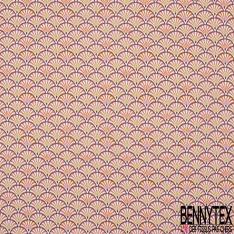 Coton imprimé Feuillage Tropicale Multicolore fond Fantaisie Blanc cassé Gris