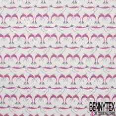 Coton imprimé Ribambelle de Crevette Rose Stylisée fond Blanc Cassé