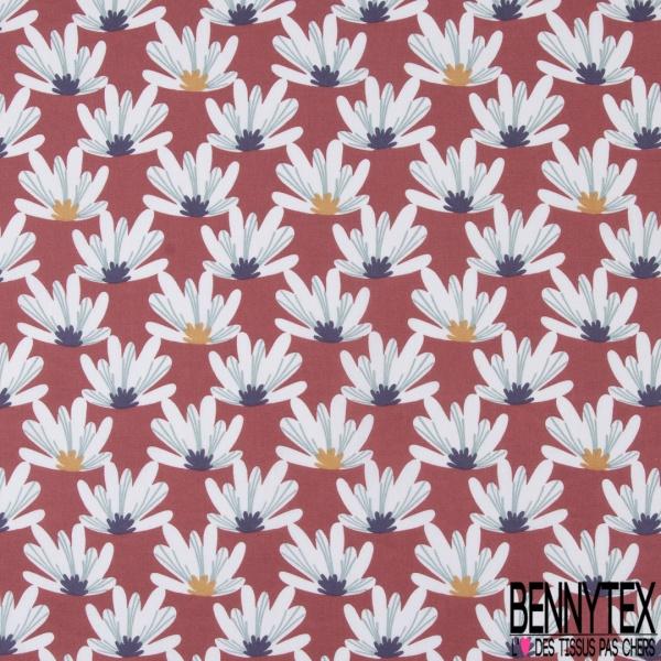 Coton imprimé Daisy Floral Naïf fond Rouge