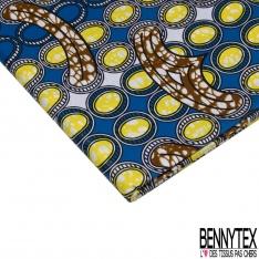 Wax Africain N°938: Motif Forme Abstraite Striée Jaune Turquoise Corail effet Ciré