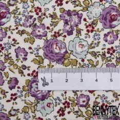 Coton imprimé Motif Papier Peint Floral Rétro ton Vieux Rose fond Crème