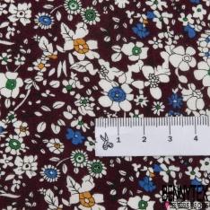 Coton imprimé Motif Floral Rétro ton Parme Bleu Givré fond Blanc
