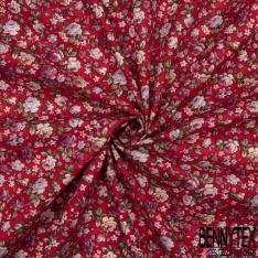 Coton imprimé Motif Floral Rétro ton Blanc Givré fond Prune