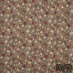 Coton imprimé Motif Floral Rétro ton Multicolore fond Pétrole