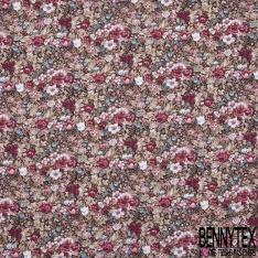 Coton imprimé Motif Floral Rétro ton Rouge Rose Blanc fond Kaki