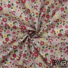 Coton imprimé Motif Bouquet Floral Rétro ton Rouge Rose Jaune fond Blanc Cassé