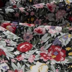 Coton imprimé Motif Bouquet Floral Rétro ton Multicolore fond Noir