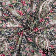 Coton imprimé Motif Floral Cachemire Rétro ton Rose Vert Blanc fond Gris