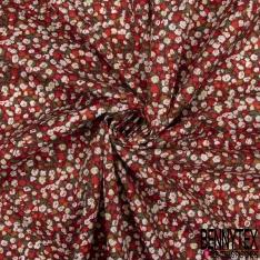 Coton imprimé Petit Motif Floral Rétro ton Ocre Corail Blanc fond Rouge Bordeaux