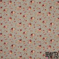 Coton imprimé Motif Bouquet de Rose Rétro fond Gris Taupe
