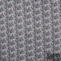 Coton imprimé Motif Floral ton Rouge Bleu Blanc Vintage fond Nuit