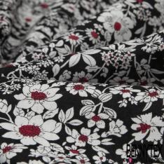 Coton imprimé Mini Motif Floral ton Rose Blanc Vintage fond Noir